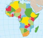 政治非洲的映射 库存照片
