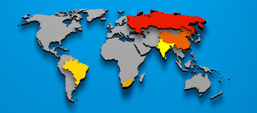 政治BRICS巴西中国俄国印度非洲 库存图片