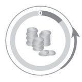 财政象,显示减退现金 堆硬币 库存照片