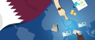 财政银行业务预算的卡塔尔经济财政金钱贸易概念例证与旗子地图和货币的 向量例证