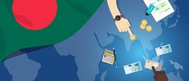 财政银行业务预算的孟加拉国Daka经济财政金钱贸易概念例证与旗子地图和货币的 皇族释放例证