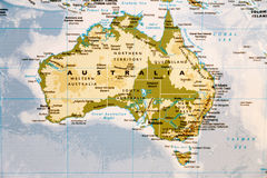 政治澳洲大陆的映射 免版税库存照片