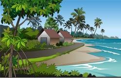 故事书孩子的海滩例证 免版税图库摄影