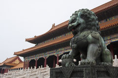 故宫卫兵狮子,北京,中国 免版税图库摄影