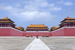 故宫复制品有访客的走道的,横店,中国 库存照片