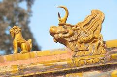 故宫的橙色屋顶监护人,北京,中国 库存图片
