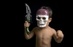 仿效战士的小男孩 库存照片
