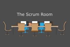 敏捷过程,混乱室队会议,配合的概念,群策群力 向量例证