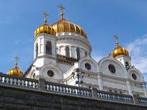 救世主大教堂的片段以天空为背景的 莫斯科 免版税库存照片