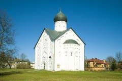救主变貌教会特写镜头在一晴朗的4月天 novgorod veliky的俄国 库存照片