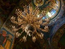救主的内部教会溢出的血液的在圣彼德堡,俄罗斯 库存照片