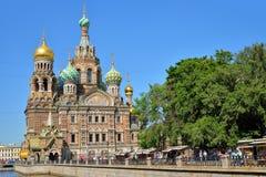 救主的大教堂血液、Mikhailovsky庭院和Th的 库存照片