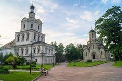 救主的Vernicle图象的斯帕斯基大教堂和天使迈克尔, Andronikov修道院,莫斯科教会  图库摄影