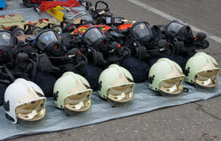 救助者和消防员的个体防护用品 库存图片