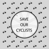 救我们的骑自行车者 免版税库存照片