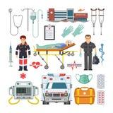 救护车传染媒介医生字符救护车汽车和药房医学药物药片例证疗程配药学 库存例证