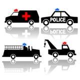 救护车汽车火警察交换 皇族释放例证