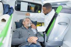 救护车汽车的患者 免版税库存照片