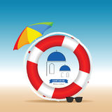活救星和伞例证的圣托里尼希腊海岛 库存照片
