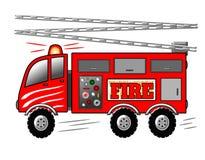 救火车、消防车有梯子的和警报器例证 库存例证