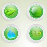 救球生态概念的贴纸或标签设计 免版税库存图片