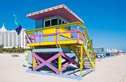救生员塔在迈阿密Beach,佛罗里达 免版税库存图片