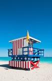 救生员塔在迈阿密Beach,美国 免版税库存图片