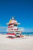 救生员塔在迈阿密Beach,美国 免版税库存照片