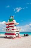 救生员塔在迈阿密Beach,美国 库存照片