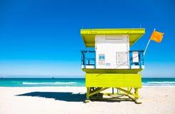 救生员塔在迈阿密Beach,美国 图库摄影