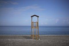 救生员塔,萨莫斯岛,希腊 免版税库存照片