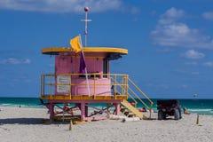 救生员客舱迈阿密海滩佛罗里达 免版税库存照片