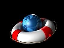 救生圈和地球地球 免版税图库摄影