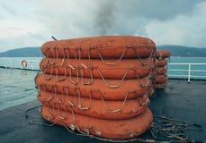 救生艇轮渡船,甲板,设备, Lifebuoy运输,生存,南,浩劫,紧急状态,桔子,抢救 免版税库存照片