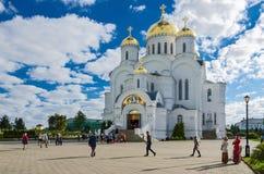 救主三位一体六翼天使Diveev变貌大教堂  免版税库存照片