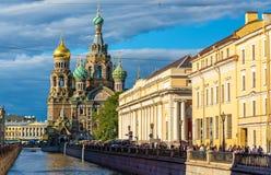 救主-圣彼德堡的教会血液的 库存照片