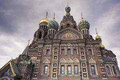 救主-圣彼德堡,俄罗斯的教会溢出的血液的 库存照片