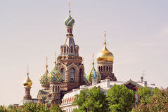 救主的基督圣彼德堡,俄罗斯的复活的教会溢出的血液的或大教堂 免版税库存照片