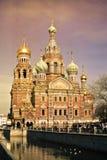 救主的基督,圣彼德堡的复活的教会Spilled血液的或大教堂日落的 免版税库存图片