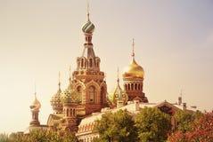 救主的基督,圣彼德堡,俄罗斯的复活的教会Spilled血液的或大教堂日落的 免版税库存图片
