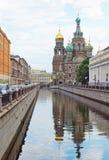 救主的寺庙血液的在Griboedov渠道 免版税库存图片