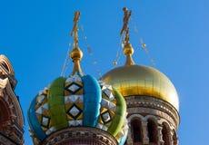 救主的寺庙血液的-特写镜头视图,圣彼德堡,俄罗斯 库存照片