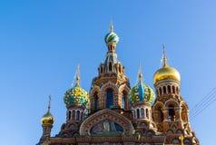 救主的寺庙血液的-特写镜头视图,圣彼德堡,俄罗斯 库存图片