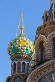 救主的寺庙血液的-特写镜头视图,圣彼德堡,俄罗斯 图库摄影