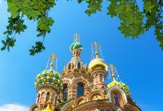 救主的教会溢出的血液的在圣彼得堡, Russi 图库摄影