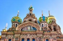 救主的教会溢出的血液的在圣彼得堡 库存照片