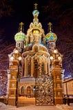 救主的教会溢出的血液的在圣彼德堡,俄罗斯 免版税库存照片