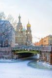 救主的教会溢出的血液的在圣彼德堡 免版税库存图片