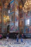 救主的教会的内部溢出的血液的在圣Pe 免版税图库摄影