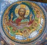 救主的教会的内部溢出的血液的在Petersb 免版税库存图片